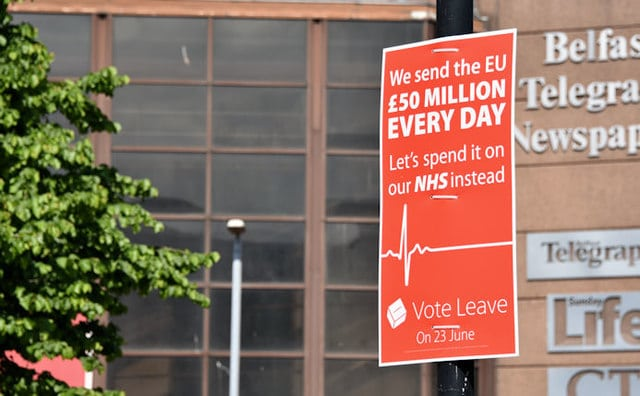 "Misleading political claims on a Brexit ""Vote Leave"" campaign sign"