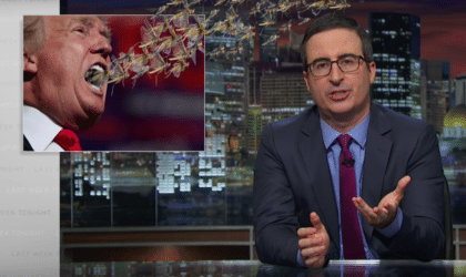 Donald Trump with a swarm of locusts flying from his mouth, with John Oliver explaining