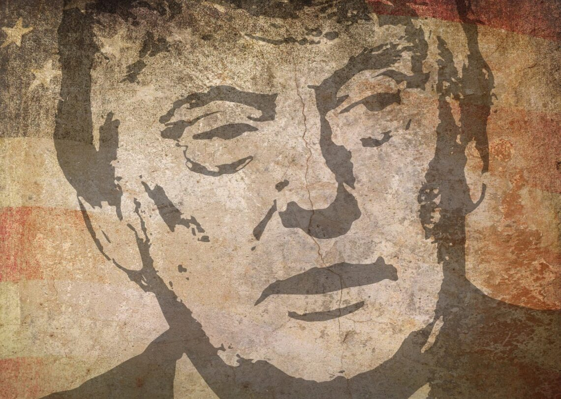 A drawing of Donald Trump with the American flag in the background.