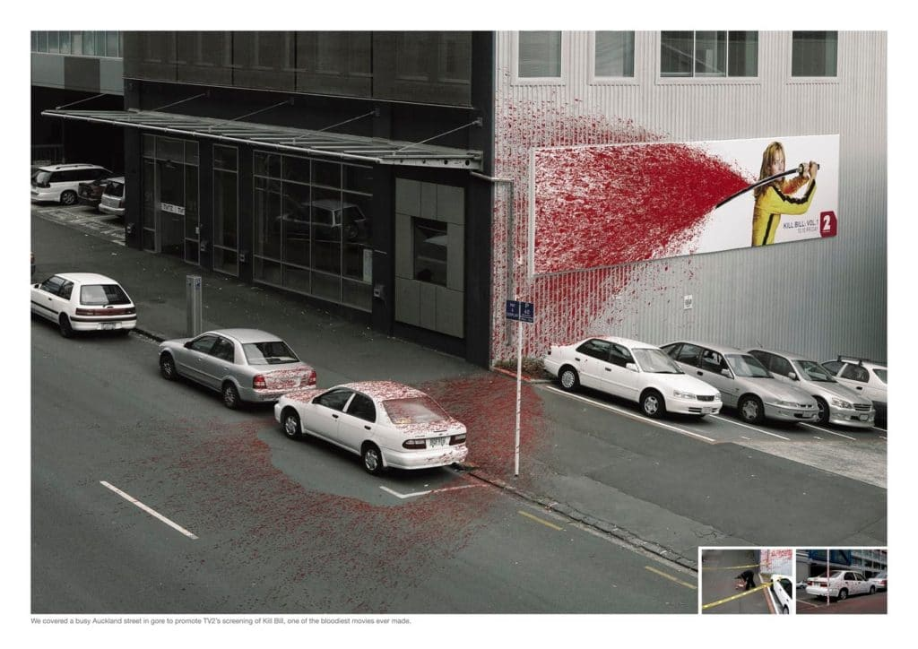 A gory interactive billboard advertising the movie Kill Bill: Volume 2.