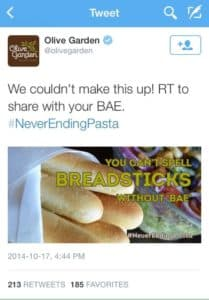 A tweet by Olive Garden with a cringe-worthy meme