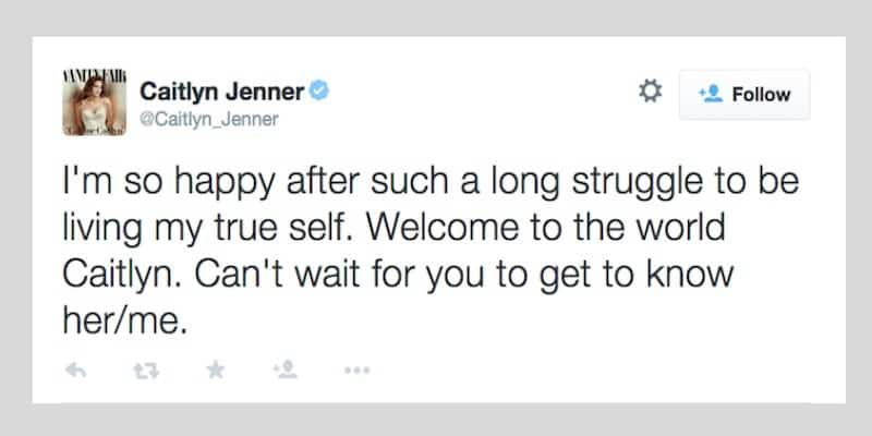 A tweet from Caitlyn Jenner which sparked a conversation.