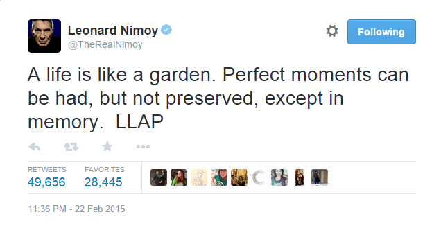 A profound tweet from actor Leonard Nimoy