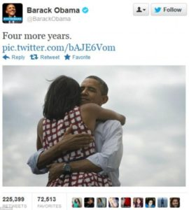 A tweet from President Obama when he was elected for a second term