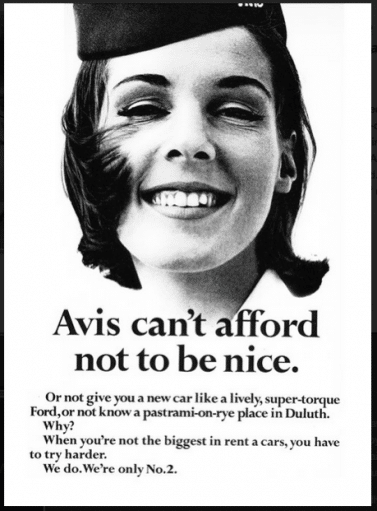 Avis advertisement celebrating the company's status as second best, and strive to improve.