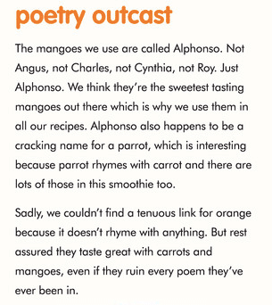 An image containing an amusing poem about the fruits contained in an Innocent smoothie