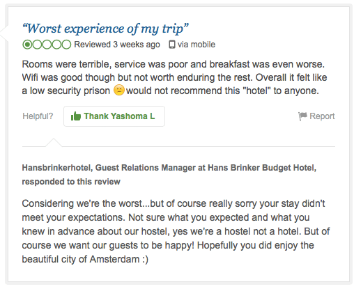 Tripadvisor review highlighting a hotel's policy of lowering your expectations