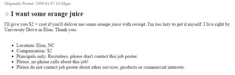 Craigslist post requesting someone deliver orange juice