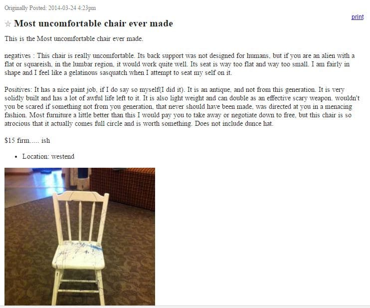 Craigslist ad for the world's most uncomfortable chair