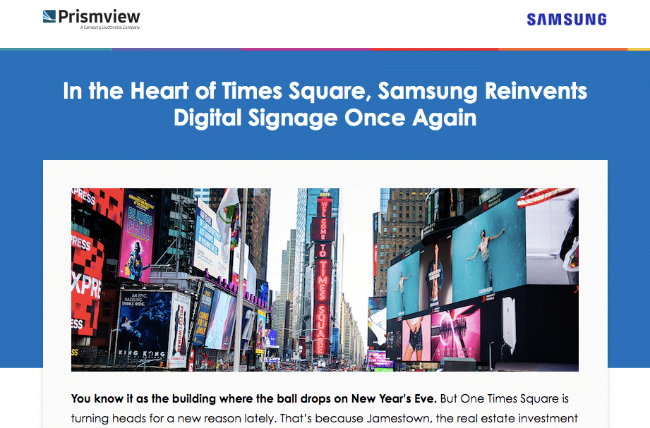 Landing page copy for One Times Square