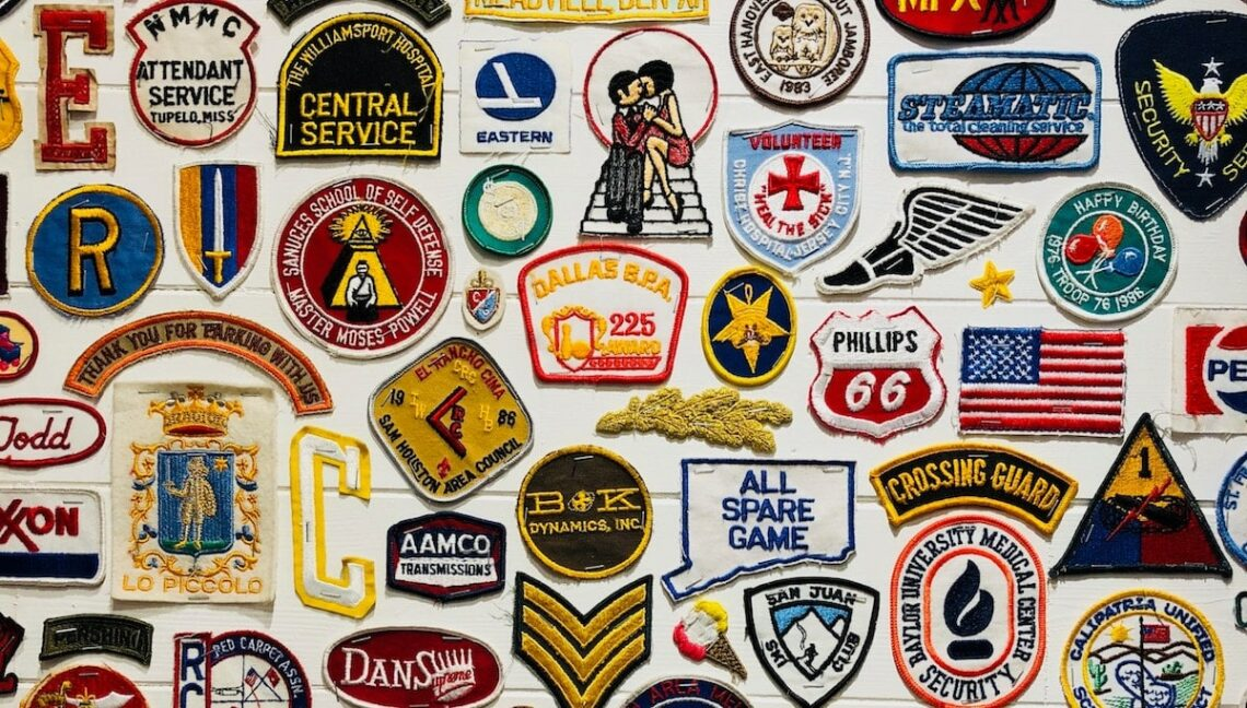 image of branded patches representing brand awareness