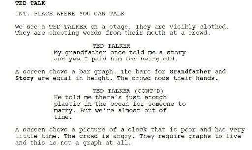 image of section from bot-generated TED talk script