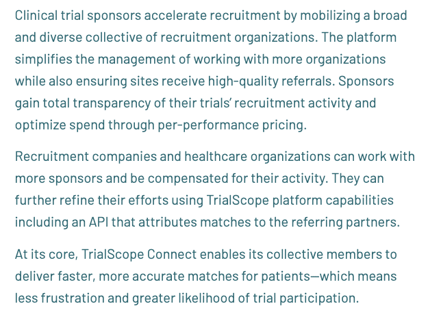 At its core, TrialScope Connect enables its collective members to deliver faster, more accurate matches for patients