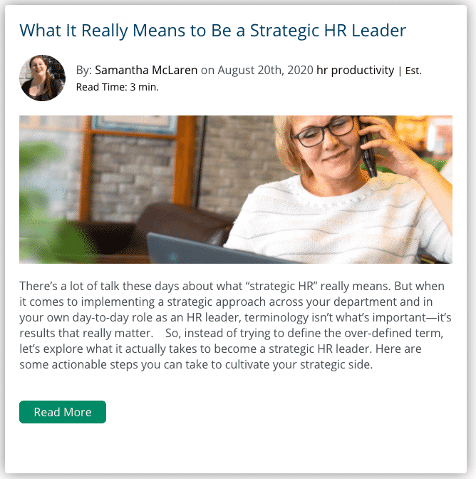 What it really means to be a strategic HR leader