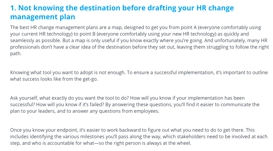 Not knowing your destination before knowing your HR change management plan