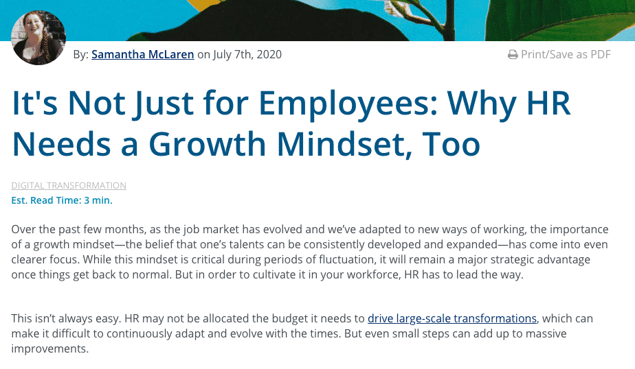 It's not just employees. Why HR needs a growth mindset, too