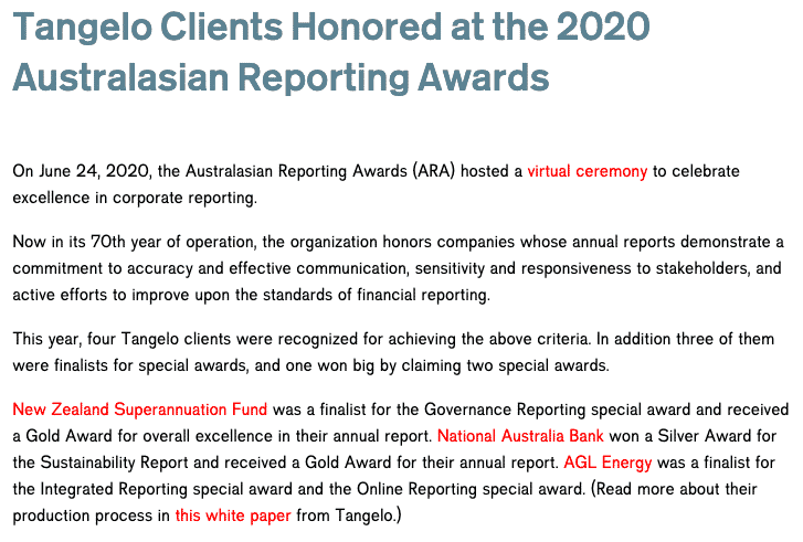 Tangelo Clients Honoured at the 2020 Australasian Reporting Awards