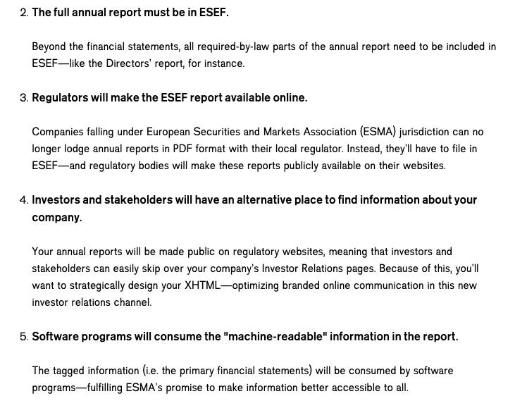 Regulators will make the ESEF report available online.