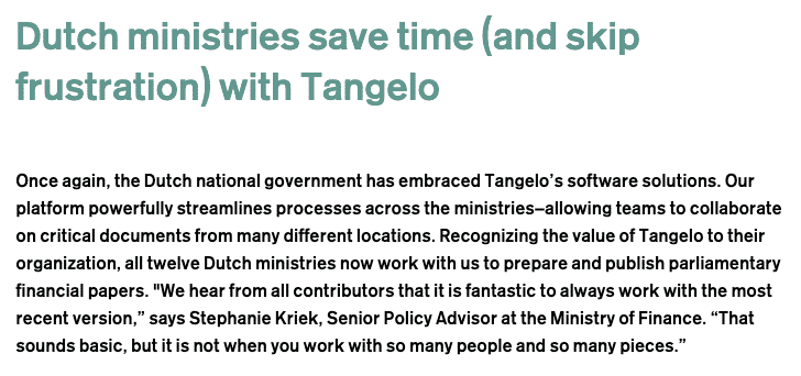 Dutch ministries save time with Tangelo