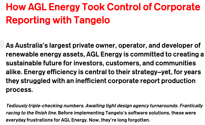 How AGL Energy Took Control of Corporate Reporting With Tangelo