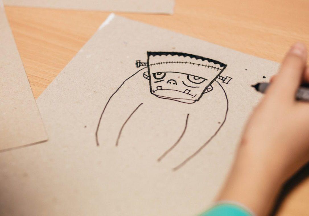 drawing of frankenstein's monster